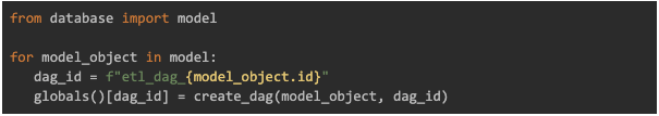 models from database as part of DAG file