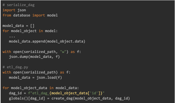 serialise the model data to a json file