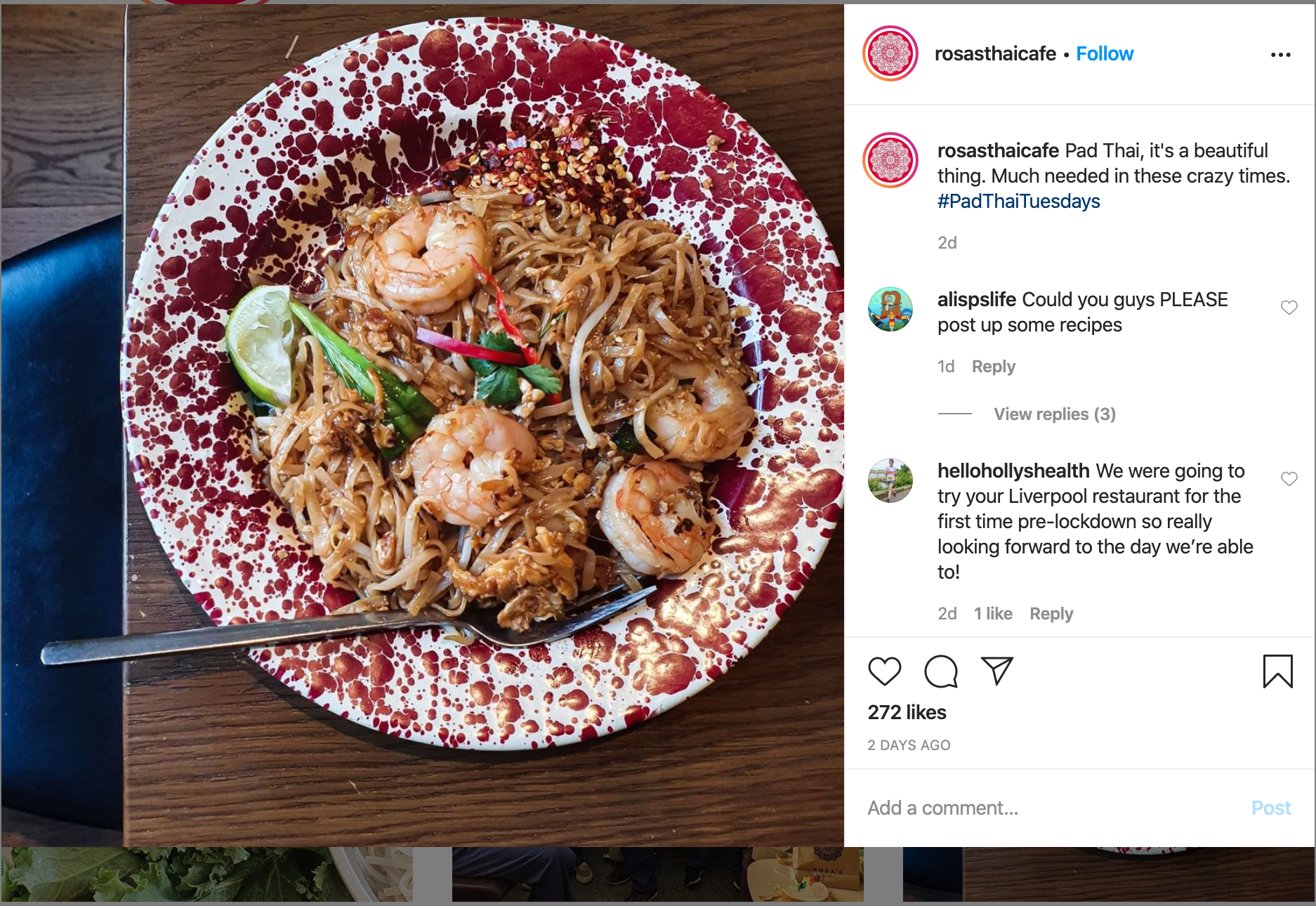 Rosa Thai delivery on Instagram